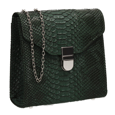 Kalie Vegan Snakeskin Pattern Clutch Bag Green