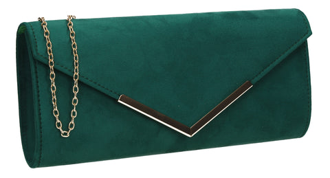 Leona Envelope Faux Suede Clutch Bag Green