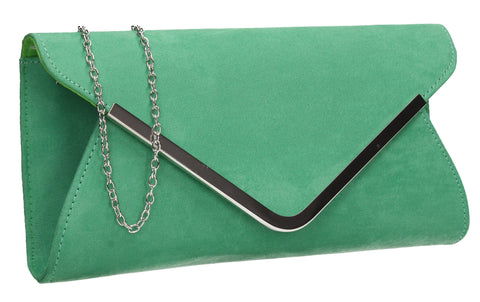SWANKYSWANS Karlie Suede Clutch Bag Light Green