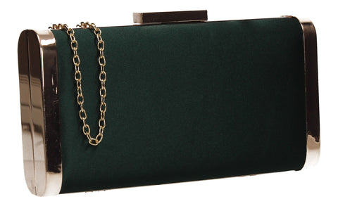 Kathleen Faux Suede Box Shape Clutch Bag Green