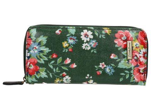 Hayley Floral Large Zipped Wallet - Green-Purse-SWANKYSWANS