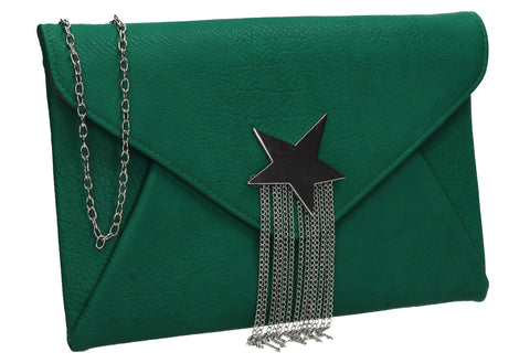Cameron Shiny Star Motif Clutch Bag Green