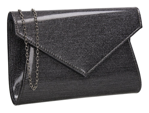 Zoe Sparkly Envelope Clutch Bag Grey