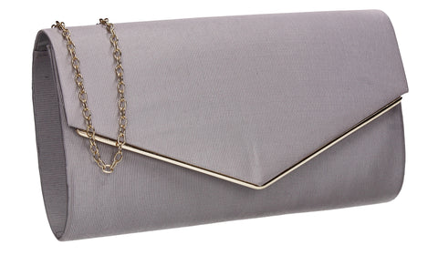 Alison Satin Envelope Clutch Bag Grey
