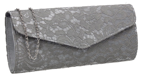 Lucie Lace Effect Envelope Clutch Bag Grey