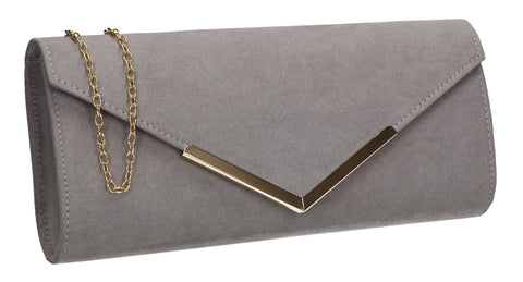 Leona Envelope Faux Suede Clutch Bag Grey