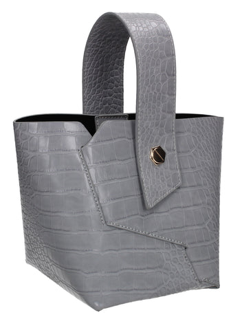 Jen Faux Leather Croc Bucket Structure Bag Grey