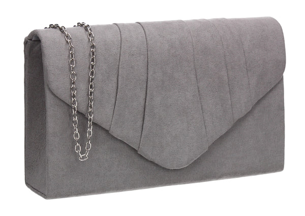 Iggy Faux Suede Clutch Bag Grey