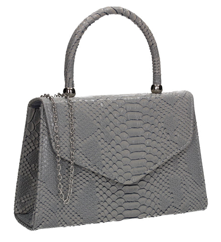 Lucy Mini-Handbag Faux Leather Snakeskin Effect Clutch Bag Grey