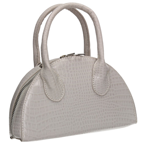 Darcie Half Moon Mini Bag Faux Leather Tote Grey