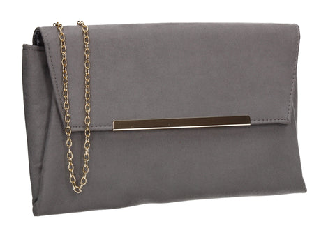 SWANKYSWANS Joe Plain Faux Suede Clutch Bag Grey