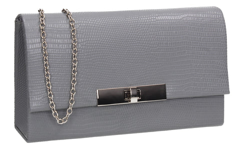 Tana Faux Leather Animal Style Clutch Bag Grey