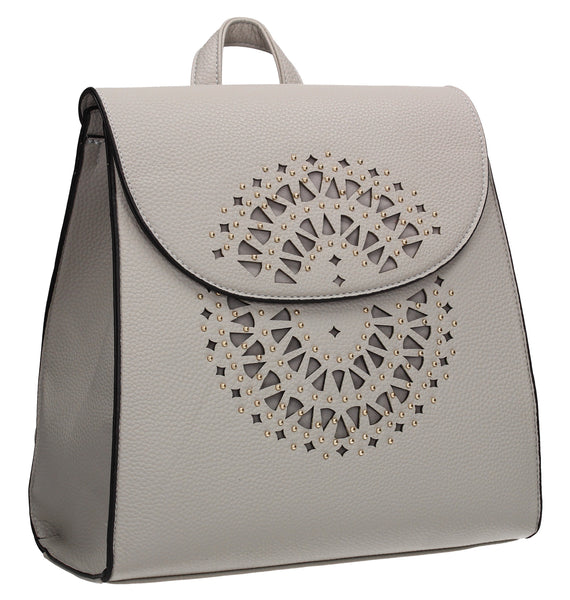 SWANKYSWANS Mila Plain Laser Cut Backpack Light Grey