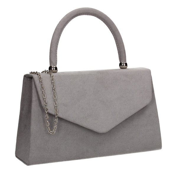 Kendall Faux Suede Clutch Bag Grey