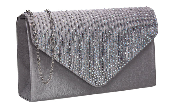 Abby Diamante Clutch Bag Grey