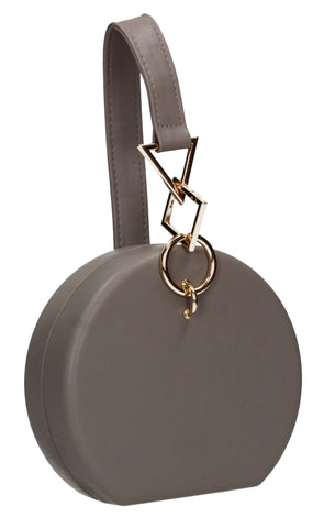 Rayne Circular Style Faux Leather Clutch Bag Grey