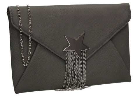 Cameron Shiny Star Motif Clutch Bag Grey