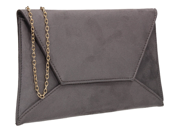 Dory Envelope Clutch Bag Grey