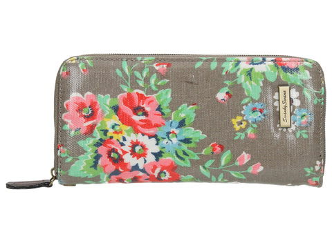 Hayley Floral Large Zipped Wallet - Grey-Purse-SWANKYSWANS
