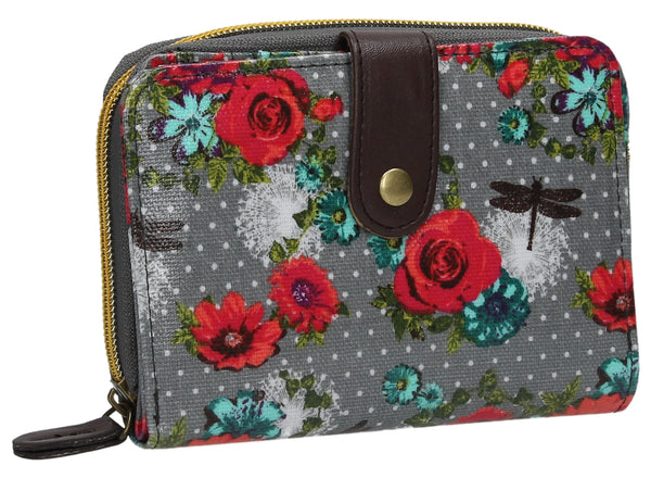 Hayley Floral Bi-Fold Wallet - Grey-Purse-SWANKYSWANS