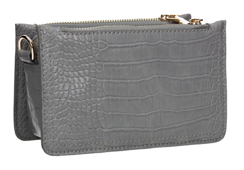 Evalyn Croc Structured Crossbody Clutch Bag Grey
