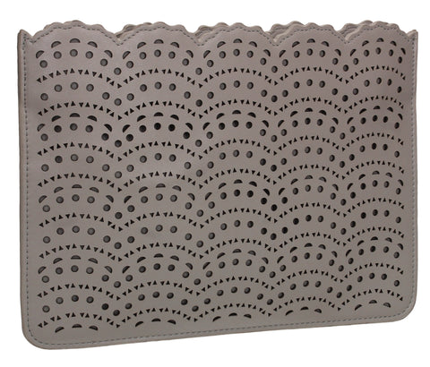 Tara Slim Laser Cut Party Evening Clutch Bag Grey