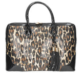Harper Double Zip In Leopard Tote - Black-Handbags-SWANKYSWANS