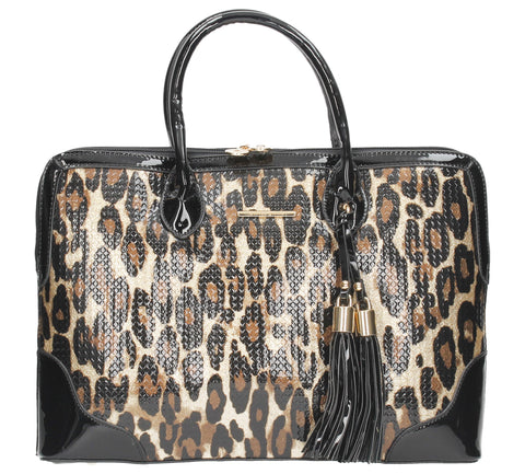 Swanky Swans Harper Double Zip Leopard Handbag BlackCheap Fashion Wedding Work School