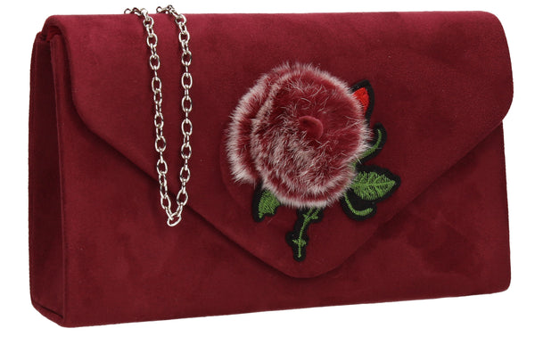 SWANKYSWANS Roxanne Fur Rose Clutch Bag Burgundy Cute Cheap Clutch Bag For Weddings School and Work