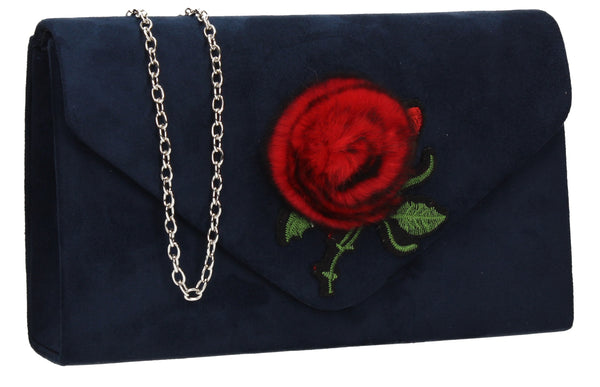 SWANKYSWANS Roxanne Fur Rose Clutch Bag Navy Cute Cheap Clutch Bag For Weddings School and Work