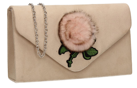 SWANKYSWANS Roxanne Fur Rose Clutch Bag Beige Cute Cheap Clutch Bag For Weddings School and Work