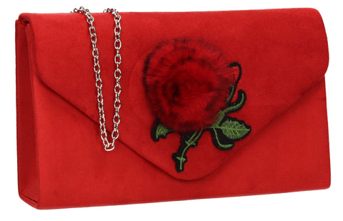 SWANKYSWANS Roxanne Fur Rose Clutch Bag Red Cute Cheap Clutch Bag For Weddings School and Work