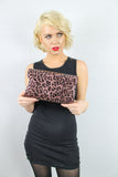 Leoni Leopard Print Clutch Bag Brown