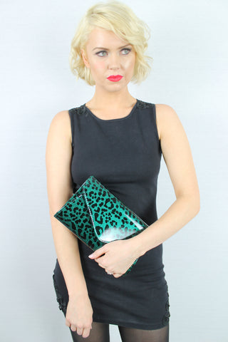 Leoni Leopard Print Clutch Bag Dark Green