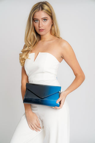 Regina Two Tone Patent Envelope Clutch Bag Black Navy