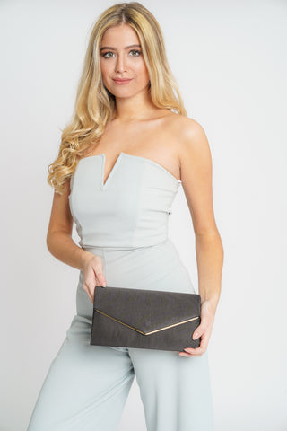 Alison Satin Envelope Clutch Bag Black