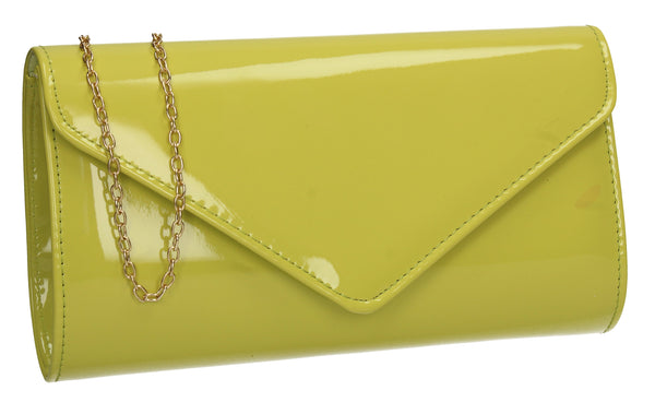 Alisa Plain Patent Clutch Bag Neon Yellow