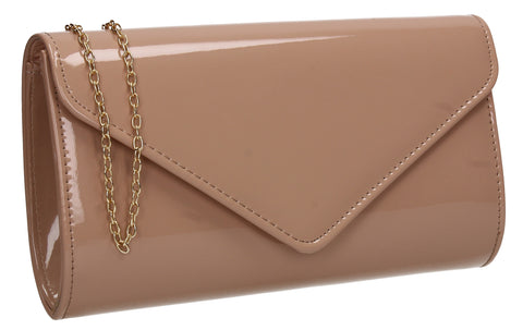 Alisa Plain Patent Clutch Bag Nude