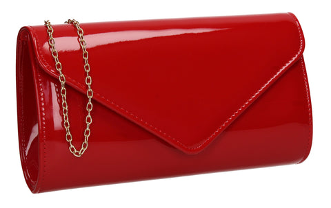 Alisa Plain Patent Clutch Bag Red