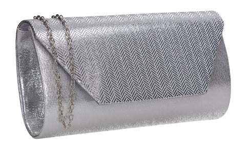 Eliana Satin Party Clutch Bag Silver