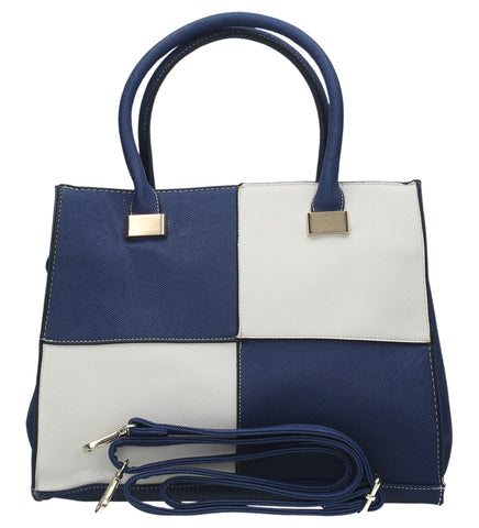 Swanky Swans Olivia Reverse Check Handbag BlueCheap Fashion Wedding Work School