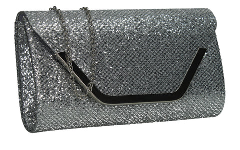 SWANKYSWANS Kamila Clutch Bag Silver Cute Cheap Clutch Bag For Weddings School and Work