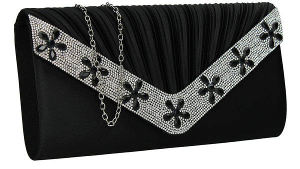 SWANKYSWANS Rylie Floral Diamante Clutch Bag Black Cute Cheap Clutch Bag For Weddings School and Work