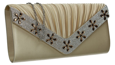 SWANKYSWANS Rylie Floral Diamante Clutch Bag Gold Cute Cheap Clutch Bag For Weddings School and Work