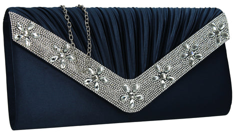 Rylie Floral Diamante Clutch Bag Navy