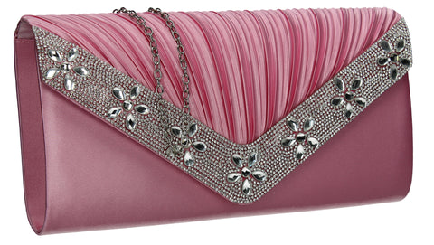 Rylie Floral Diamante Clutch Bag Pink