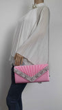 SWANKYSWANS Rylie Floral Diamante Clutch Bag Pink Cute Cheap Clutch Bag For Weddings School and Work