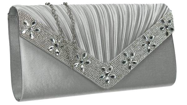 SWANKYSWANS Rylie Floral Diamante Clutch Bag Silver Cute Cheap Clutch Bag For Weddings School and Work