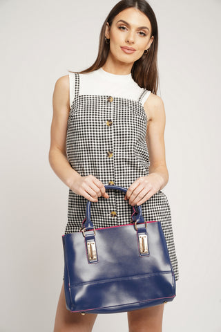 Kelly Two Tone Handbag Navy & Fuschia