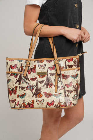 Noel Paris Butterfly Theme Tote Bag Beige